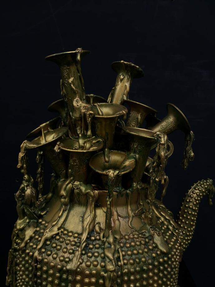 Musical kettle by Izhar Alam, Art Deco Sculpture | 3D, Mixed Media, Rangoon Green color