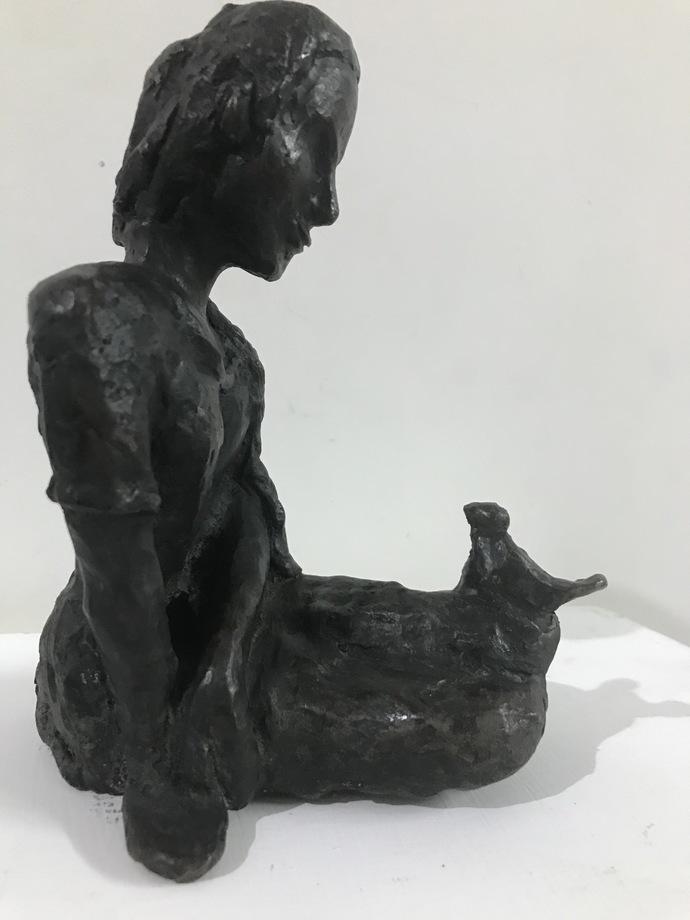 The story teller by Usha Ramachandran, Art Deco Sculpture   3D, Bronze, White color