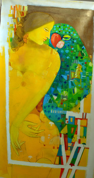 yellow frame by Madan Lal, Fantasy Painting, Acrylic on Canvas, Green color
