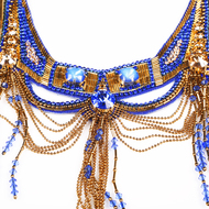 SAPPHIRE & GOLD DELPHINIA NECKLACE by BEGADA, Art Jewellery Necklace