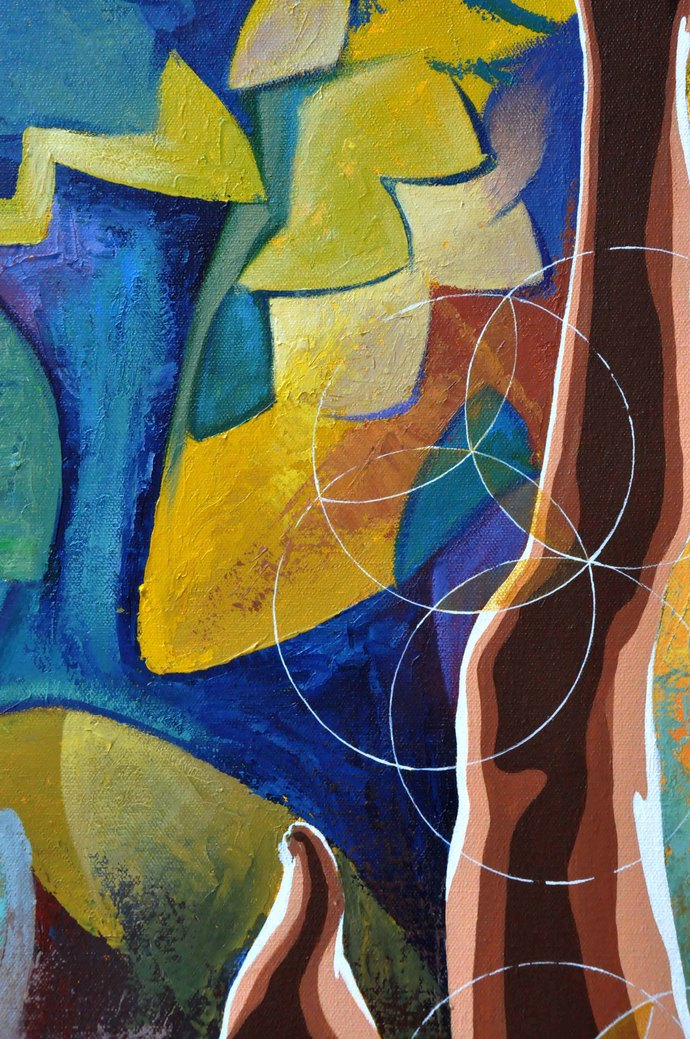 In tune with the Chakras by Studio Zaki, Expressionism Painting, Acrylic on Canvas, Brown color