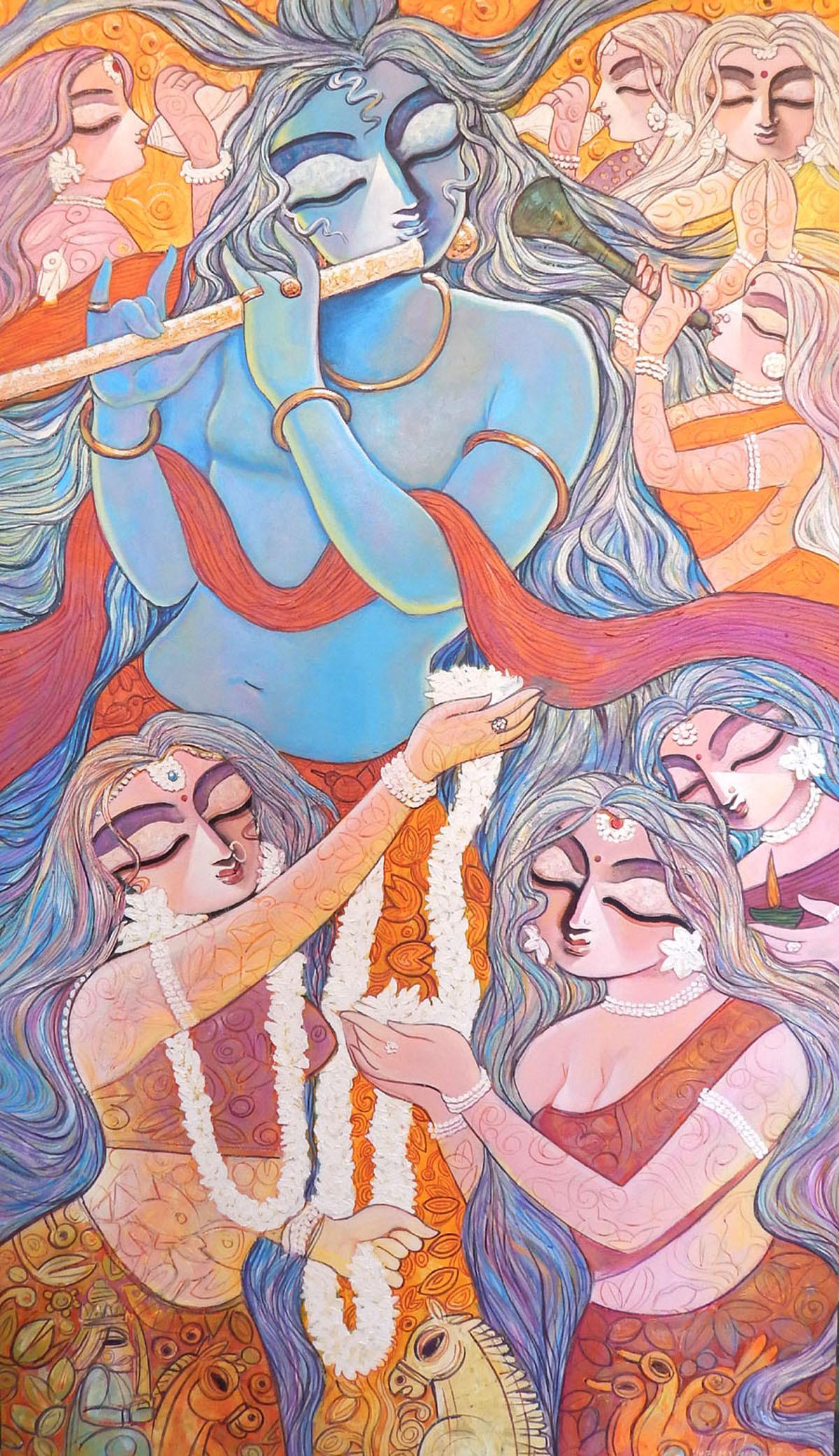 Manohara  size  39 x 67 inch  acrylic on canvas 2017