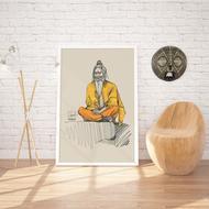 'S A D H U' of India by Shreyansh Saurabh, Digital Digital Art, Digital Print on Canvas, Beige color