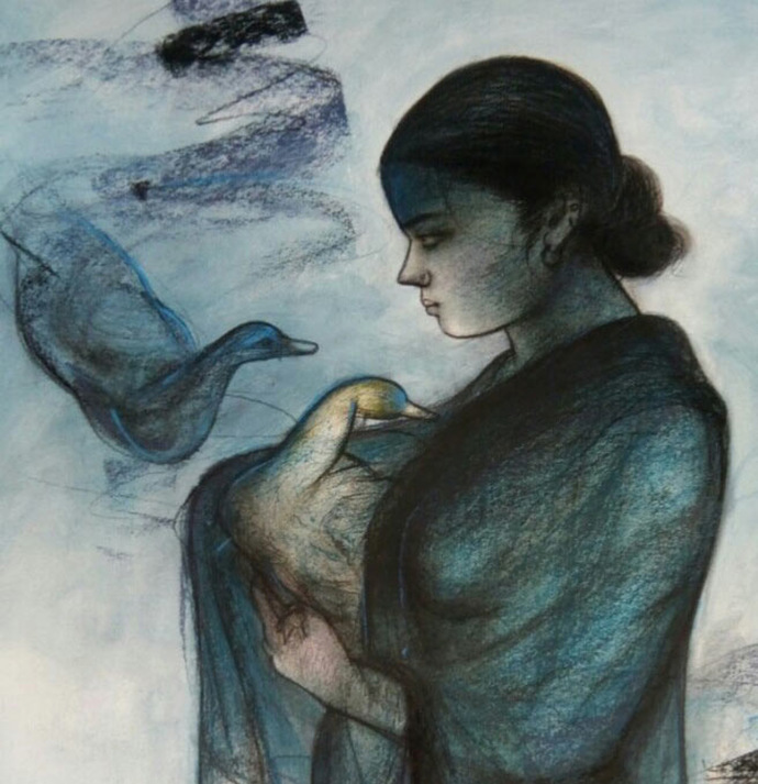 "Women with Swan, Mixed Media Painting, Blue, Black by Indian Artist ""In Stock"" by Gouranga Beshai, Expressionism Painting, Mixed Media on Paper, Gray color"