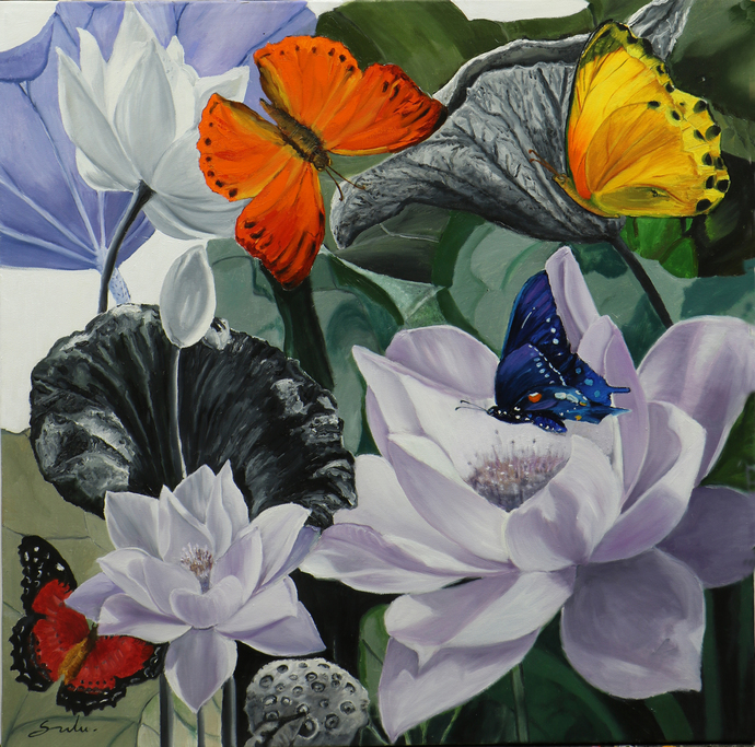 Flower with butterfly -9 by Sulakshana Dharmadhikari, Fantasy Painting, Oil on Canvas, Gray color
