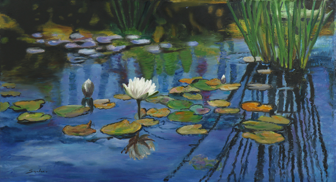 Lily pond- 10 by Sulakshana Dharmadhikari, Expressionism Painting, Oil on Canvas, Green color