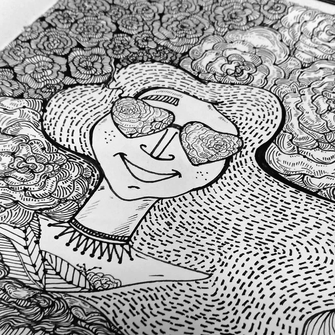 Love for floral by Prajakta Shirangare, Pop Art Drawing, Pen on Paper, Gray color