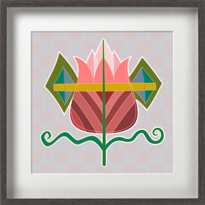 Pink Flower by KS Guruprasad, Digital Digital Art, Digital Print on Archival Paper, Gray color