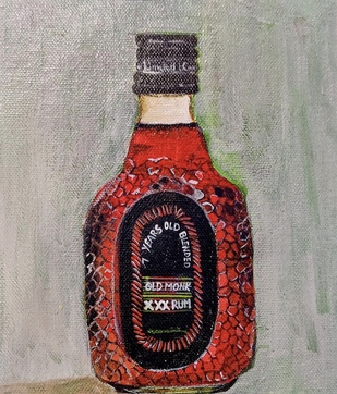 Old monk by Neha gupta, Expressionism Painting, Acrylic on Canvas, Cloudy color
