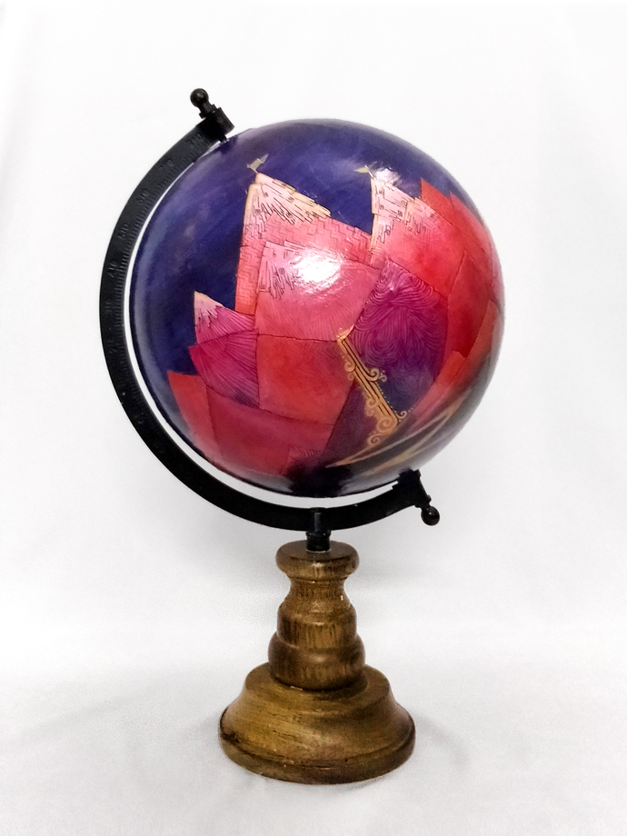 Adventure Awaits by Chayanika Sood, Art Deco Sculpture | 3D, Acrylic on Wood, Martinique color