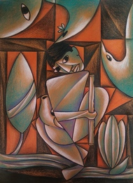 Divine Lover by Soumitra Dutta, Cubism Painting, Mixed Media on Paper, Chocolate color