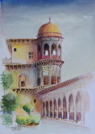 Tijara fort by Sarnjit singh, Impressionism Painting, Watercolor on Paper, Gray Chateau color