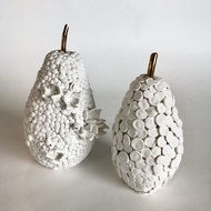 Fruit, the womb of creation - Discs by Shweta Mansingka, Art Deco Sculpture | 3D, Ceramic, Cotton Seed color