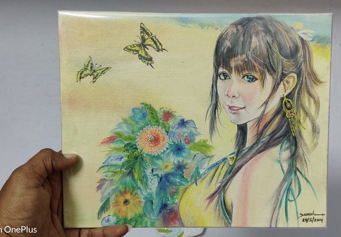 Bouquet Girl by K SURESH KUMAR, Expressionism Painting, Oil on Canvas Board, William color