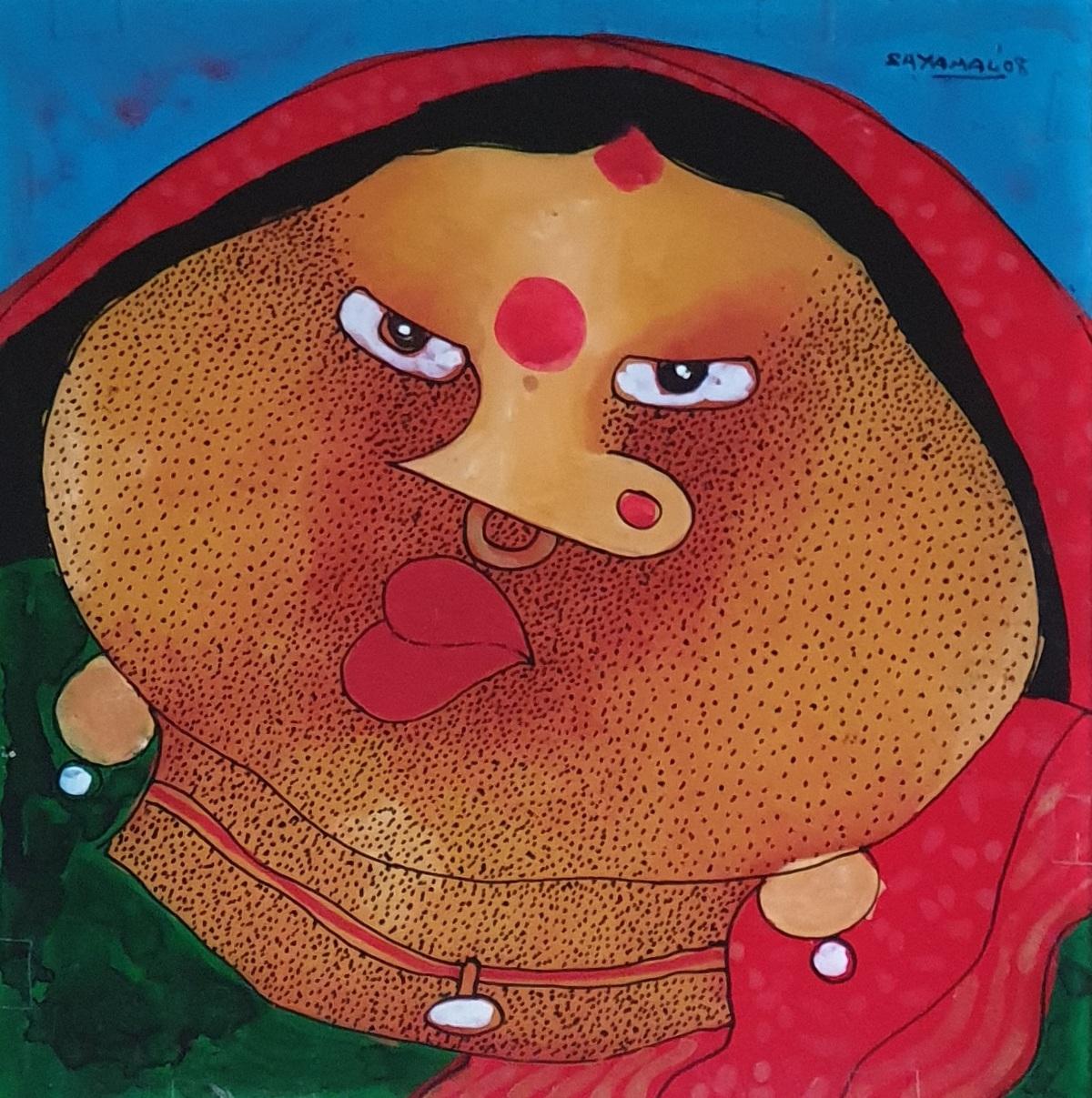 Shyamal mukherjee bawa biwi oil on acrylic sheet %2812%29