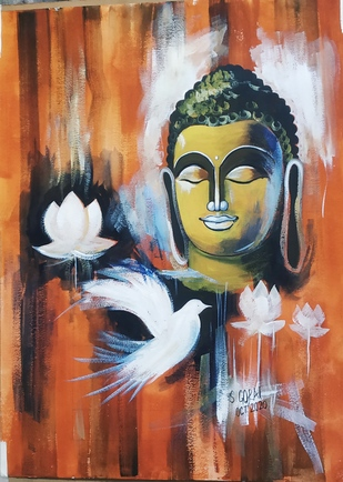 Budhha by Santosh Gorai, Expressionism Painting, Acrylic on Paper, Brown color