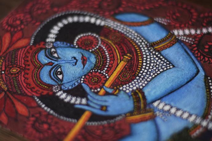 KRISHNA KERLA MURAL by Gargi Parmar, Expressionism Painting, Acrylic on Board, Judge Gray color