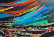 Aurora Borealis by Richa Pamnani, Abstract Painting, Acrylic on Canvas, Burning Sand color