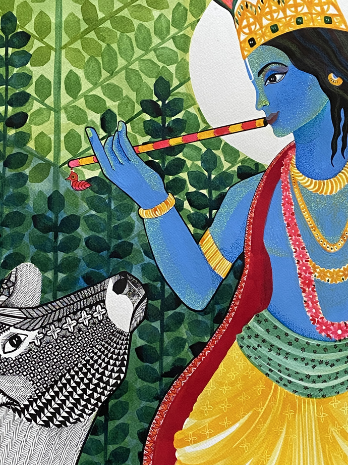 Krishna Divine Love by Pallavi Rastogi , Traditional Painting, Mixed Media on Paper, Cabbage Pont color