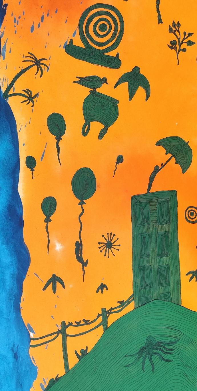 Towards the holocaust by Mohd.Rasid pathan, Abstract Painting, Acrylic on Canvas, Killarney color