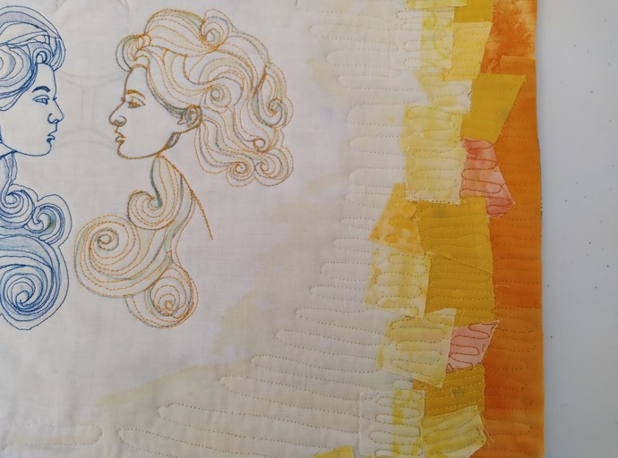 Mad May Girl by Deepa Vasudevan, Abstract, Conceptual Textile, Mixed Media on Cloth, Sorrell Brown color