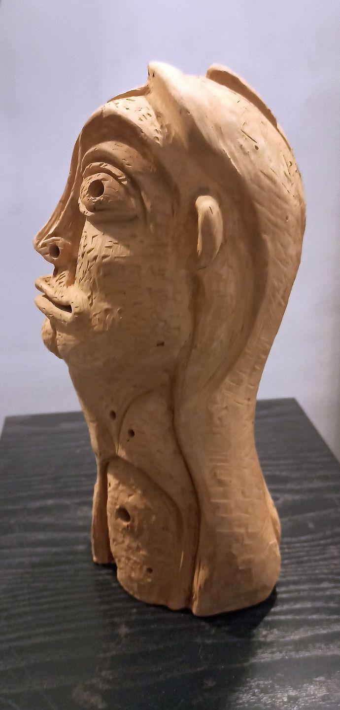 A Simple Woman by Atish Mukherjee, Art Deco Sculpture | 3D, Terracotta, Shingle Fawn color