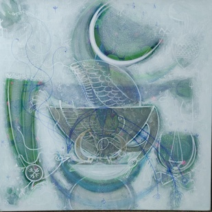 Unttiled-1 by Aparna Anil, Abstract Painting, Acrylic on Canvas, Silver color